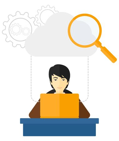 asian man laptop: An asian man working on his laptop with a cloud, loupe and gears above him vector flat design illustration isolated on white background.