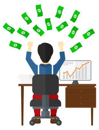 dinero volando: Un hombre asi�tico que se sienta delante de su ordenador con las manos levantadas y dinero volando por encima de �l el dise�o ilustraci�n vectorial plana aislada en el fondo blanco. Vectores