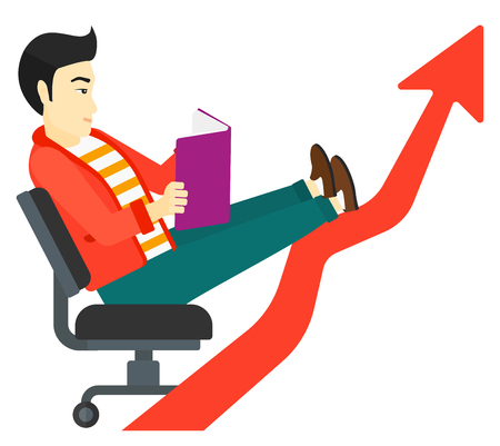 lay: An asian businessman sitting in chair with a book in hands while his legs lay on an uprising arrow vector flat design illustration isolated on white background. Illustration