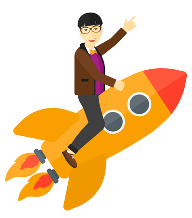 forefinger: An asian man flying on the rocket with a forefinger pointing up vector flat design illustration isolated on white background.