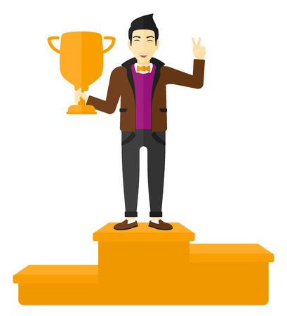 asian businessman: An asian businessman standing on the winning podium with a trophy in hand vector flat design illustration isolated on white background. Illustration