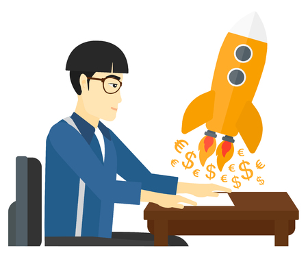 An asian successful man sitting at the table and looking at a rocket with money taking off the paper vector flat design illustration isolated on white background.
