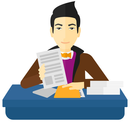 An asian human resources manager reading application portfolios vector flat design illustration isolated on white background.
