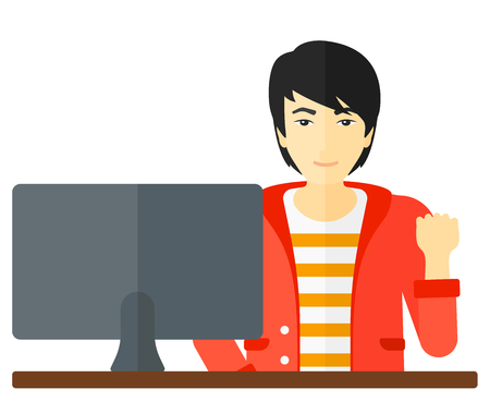 An asian happy businessman expressing great satisfaction while looking at computer monitor vector flat design illustration isolated on white background.