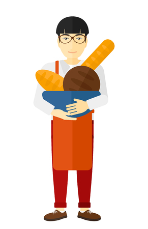 owner: An asian bakery owner holding a bowl with bread in hands vector flat design illustration isolated on white background. Illustration