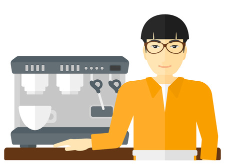 barista: An asian barista with the beard standing near coffee maker vector flat design illustration isolated on white background.