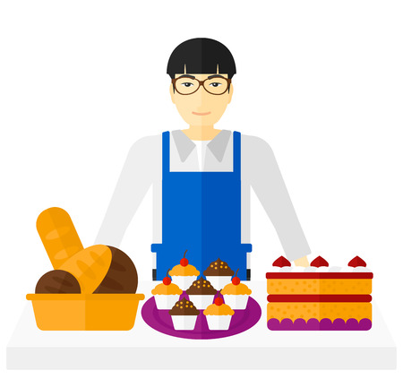 asian business man: An asian successful small business owner standing in front of table with pastry vector flat design illustration isolated on white background.