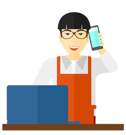 proprietor: An asian man taking an order by phone vector flat design illustration isolated on white background.