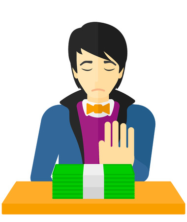 An asian man moving dollar bills away and refusing to take a bribe vector flat design illustration isolated on white background.
