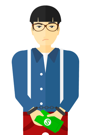 handcuffed: An asian businessman in handcuffs with money in hands vector flat design illustration isolated on white background. Illustration