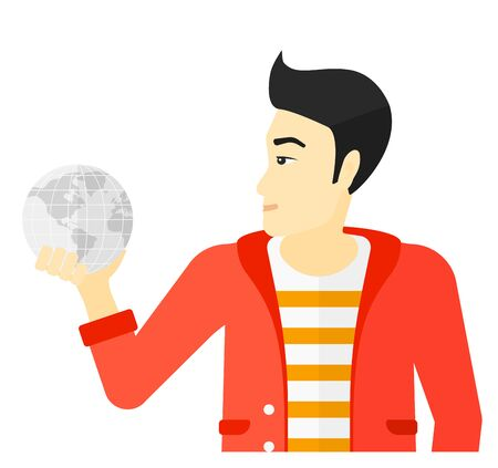 flat earth: An asian businessman holding Earth planet in hand vector flat design illustration isolated on white background.
