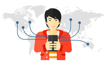 An asian man holding smartphone connected with the whole world vector flat design illustration isolated on white background.