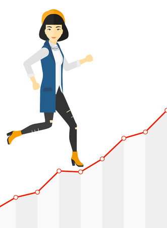 asian business: An asian business woman running along the growth graph vector flat design illustration isolated on white background.