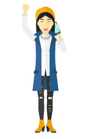 asian business: An asian business woman with raised hand talking on the phone vector flat design illustration isolated on white background.