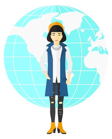 business woman standing: An asian business woman standing on earth globe background vector flat design illustration isolated on white background. Illustration