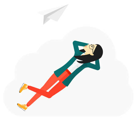 flying paper: An asian woman lying on a cloud and looking at flying paper plane vector flat design illustration isolated on white background.