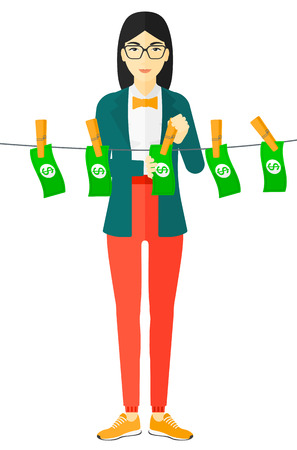 counterfeit: An asian business woman drying banknotes on clothesline vector flat design illustration isolated on white background.