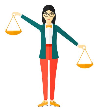 Een Aziatische zakelijke vrouw met schalen in handen vector platte ontwerp illustratie op een witte achtergrond.