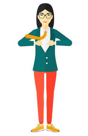 undress: An asian business woman standing and taking off her jacket vector flat design illustration isolated on white background.