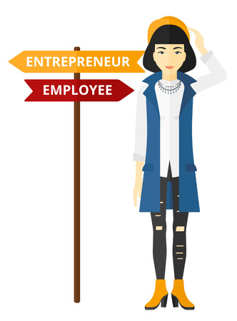 An asian confused woman with two career choices in front of her vector flat design illustration isolated on white background. Illustration
