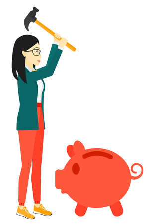 asian business: An asian business woman with a hammer breaking a piggy bank vector flat design illustration isolated on white background.