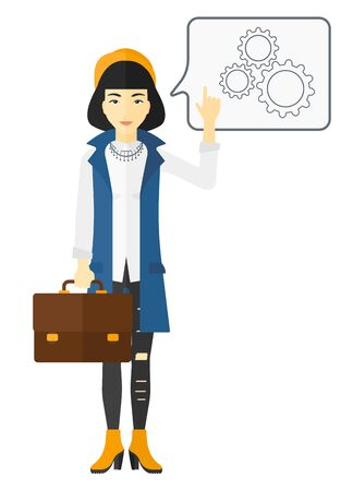 forefinger: An asian business woman pointing her forefinger at a bubble with some cogwheels inside vector flat design illustration isolated on white background. Illustration