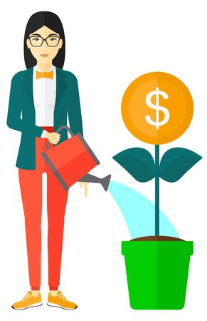 asian gardening: An asian woman taking care of finances watering a money flower vector flat design illustration isolated on white background. Illustration