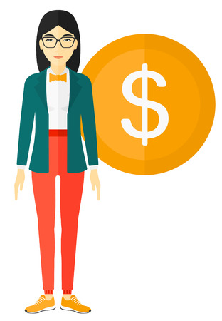 asian business: An asian business woman standing with a big dollar coin behind her vector flat design illustration isolated on white background.