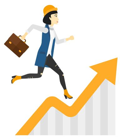asian business woman: An asian business woman running along the growth graph vector flat design illustration isolated on white background.
