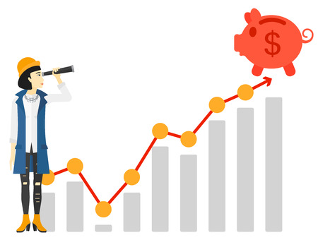 rich girl: An asian woman looking through spyglass at piggy bank standing at the top of growth graph vector flat design illustration isolated on white background. Illustration