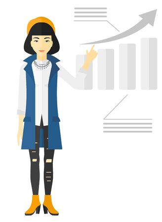 increasing: An asian woman showing with her forefinger at increasing chart vector flat design illustration isolated on white background. Illustration