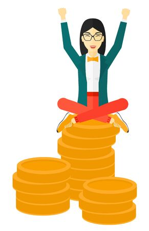 asian coins: An asian business woman with a happy face and raised hands sitting on golden coins vector flat design illustration isolated on white background.