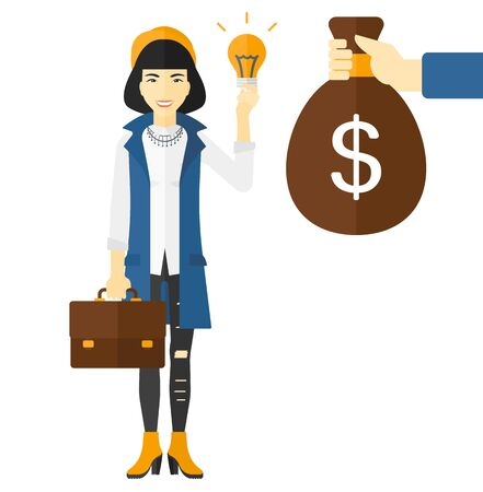 exchanging: An asian business woman exchanging her idea bulb to money bag vector flat design illustration isolated on white background. Illustration