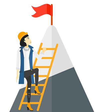 stair climber: An asian woman standing and holding the ladder to get the red flag on the top of mountain vector flat design illustration isolated on white background. Illustration