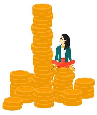 An asian business woman sitting on stack of golden coins and looking up to the biggest one vector flat design illustration isolated on white background.