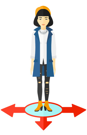 ways: An asian business woman standing on three alternative ways vector flat design illustration isolated on white background.