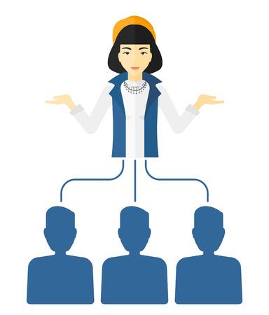Trois employés liés avec une illustration de patron design plat de vecteur isolé sur fond blanc.