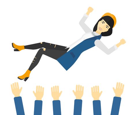 hands lifted up: An asian business woman get thrown into the air by coworkers during celebration vector flat design illustration isolated on white background.