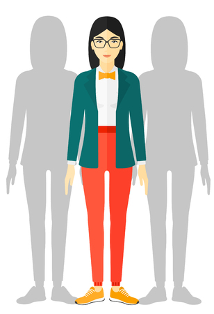 coworkers: An asian woman with some shadows of her coworkers behind her vector flat design illustration isolated on white background.