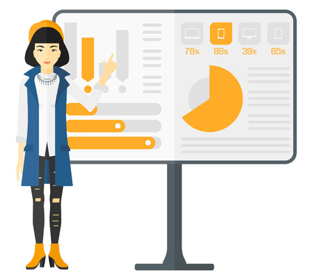 asian manager: An asian woman pointing at charts on a board during presentation vector flat design illustration isolated on white background.