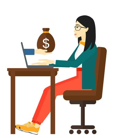 asian business: An asian business woman working in office and a bag of money coming out of her laptop vector flat design illustration isolated on white background.