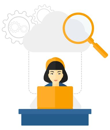 wi: An asian woman working on her laptop with a cloud, loupe and gears above her vector flat design illustration isolated on white background.