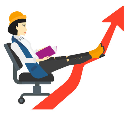 lay: An asian business woman sitting in chair with a book in hands while her legs lay on an uprising arrow vector flat design illustration isolated on white background. Illustration