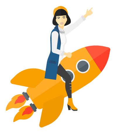 woman pointing up: An asian woman flying on the rocket with a forefinger pointing up vector flat design illustration isolated on white background.