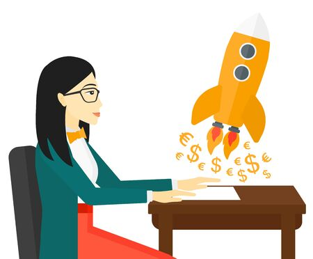 taking off: An asian successful woman sitting at the table and looking at a rocket with money taking off the paper vector flat design illustration isolated on white background. Illustration