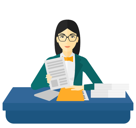 the applicant: An asian human resources manager reading application portfolios vector flat design illustration isolated on white background.