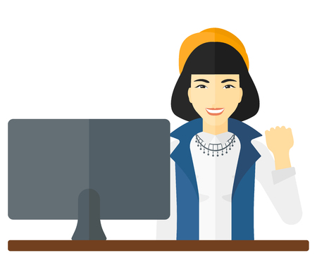 An asian business woman expressing great satisfaction while looking at a computer monitor vector flat design illustration isolated on white background.