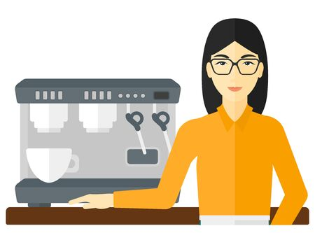 barista: An asian barista standing near coffee maker vector flat design illustration isolated on white background.