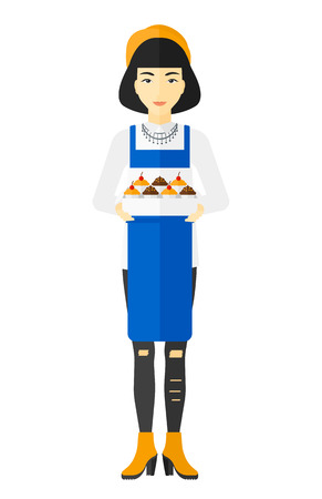 An asian woman holding a box of cakes vector flat design illustration isolated on white background.