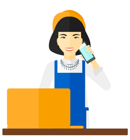 proprietor: An asian woman taking an order by phone vector flat design illustration isolated on white background. Illustration